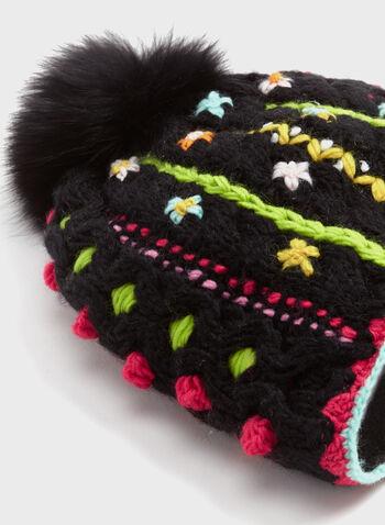 Tuque avec pompon en fourrure et détails fleuris, Noir, hi-res