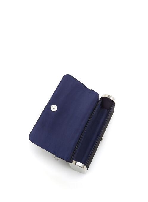 Pochette pailletée forme baguette , Bleu, hi-res