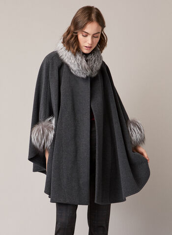 Mallia - Fur & Cashmere Blend Coat, Grey,  coat, wool, cashmere, fox fur, high neck, single button, fall winter 2020