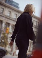 Keyhole Detail Balloon Sleeve Sweater, Black