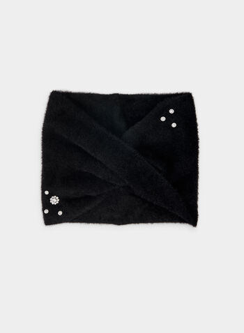 Karl Lagerfeld Paris - Jewel Detail Scarf , Black,  scarf, viscose, hairy, knit, jewels, fall winter 2019