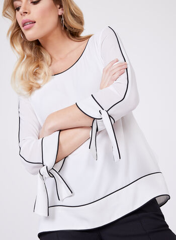 Piping Detail Chiffon Blouse, Off White, hi-res