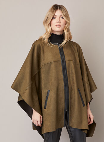 Front Zipper Faux Suede Cape, Green,  fall winter 2020, cape, poncho, suede, coat, draped