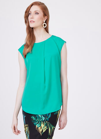 Conrad C - Sleeveless Crew Neck Blouse, Blue, hi-res