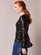 Bell Sleeve Sequin Top, Black