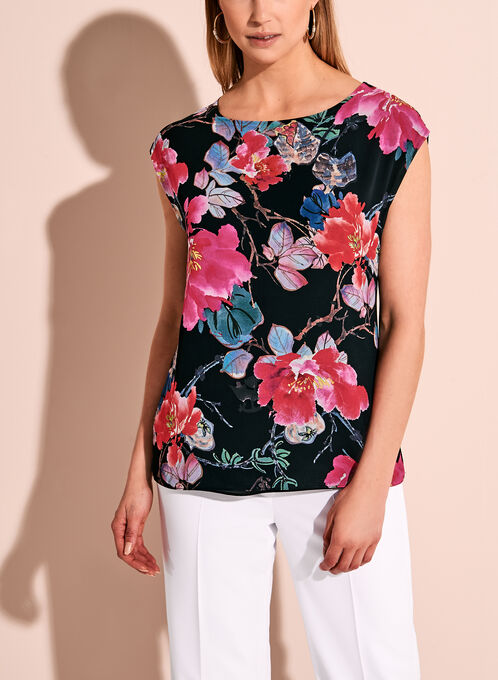 Floral Print Round Neck Top, Black, hi-res