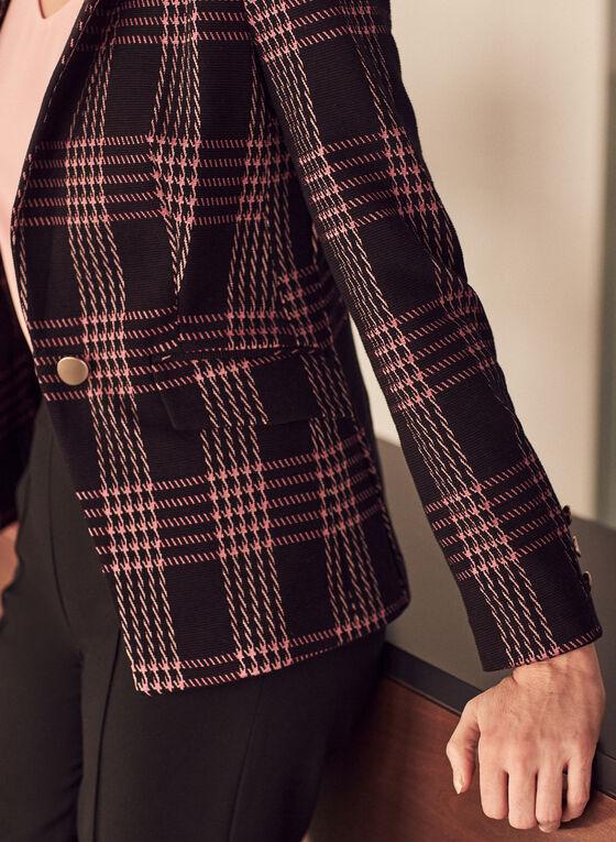 Plaid One-Button Blazer, Black