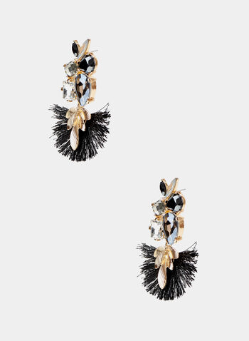 Boucles d'oreilles chandelier à détails feuilles, Noir, hi-res