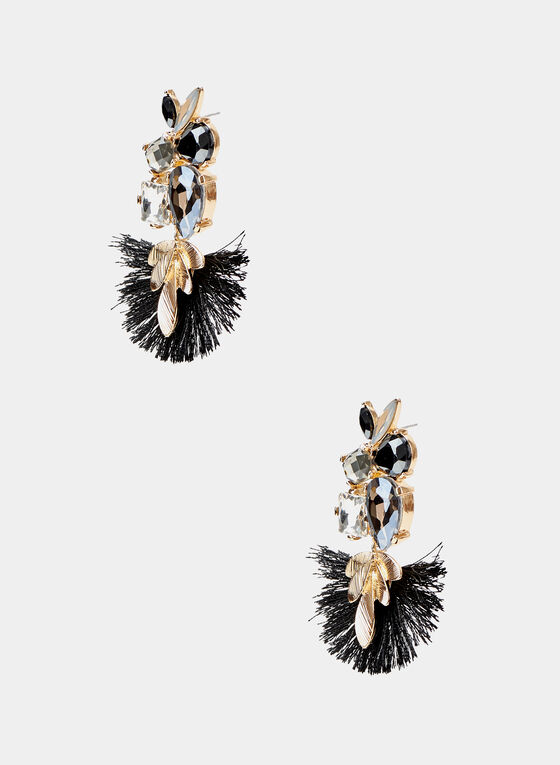 Crystal Cluster Fan Earrings, Black, hi-res