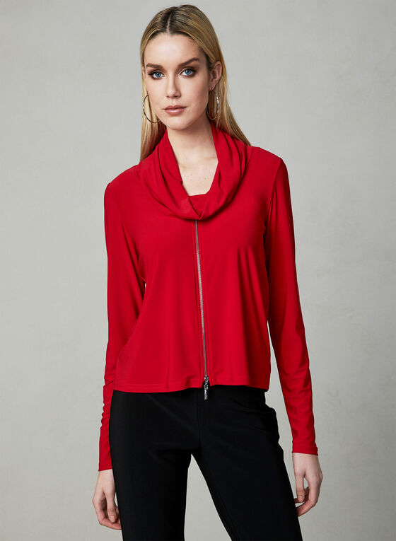 Joseph Ribkoff - Drape Neck Zip Up Top, Red, hi-res