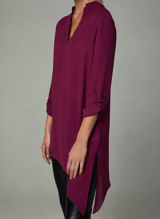 Asymmetric Chiffon Tunic, Red, hi-res