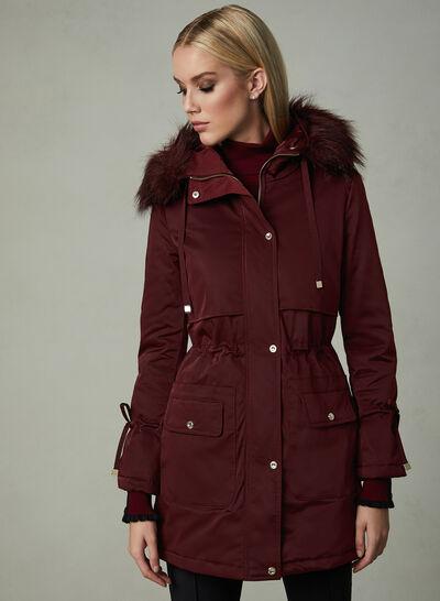 Karl Lagerfeld Paris - Faux Fur Trim Coat