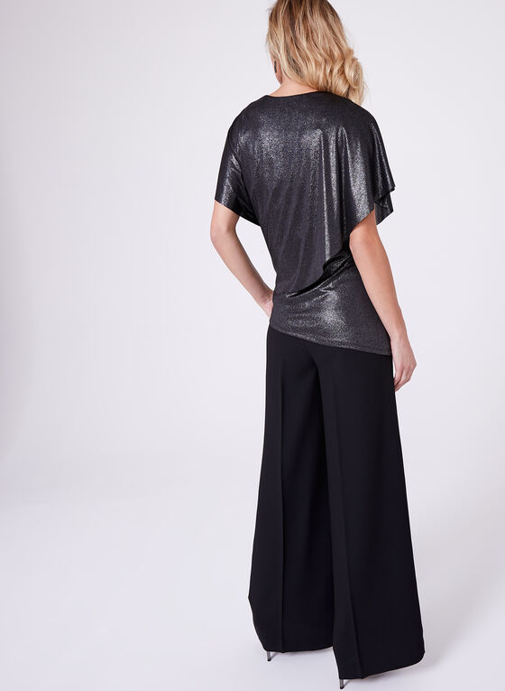 Metallic Drape Top, Black, hi-res