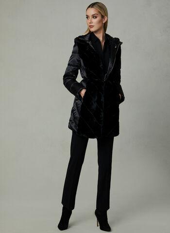 Karl Lagerfeld - Manteau matelassé avec fausse fourrure, Noir, hi-res