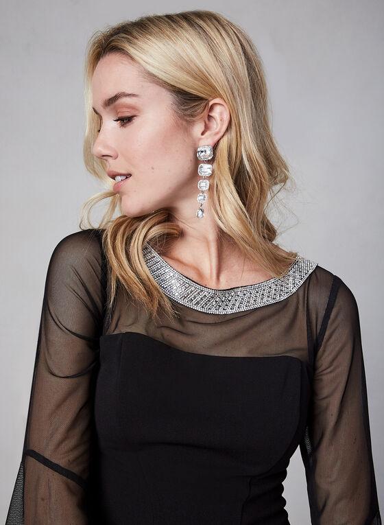 Alex Evenings - Robe à détails maille et cristaux, Noir, hi-res