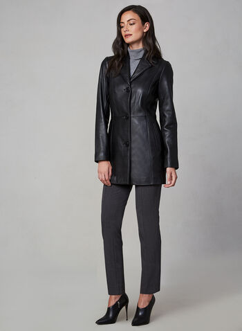 Anne Klein - Long Leather Jacket, Black,  fall winter 2019, leather, Anne Klein, long