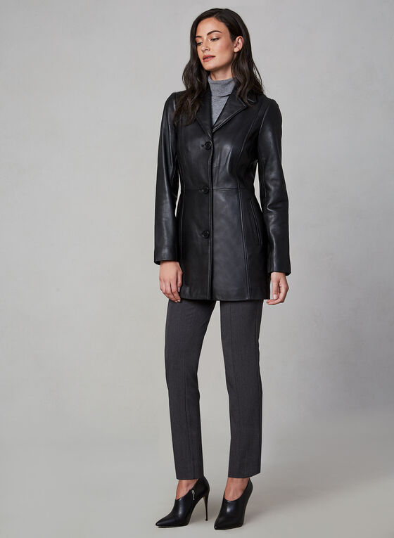 Anne Klein - Long Leather Jacket, Black