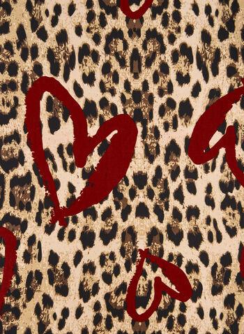 Foulard léger motif léopard et cœur, Rouge, hi-res,  foulard, cœur, léopard, automne hiver 2019