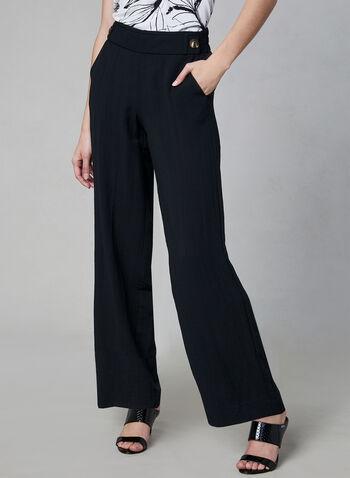 Wide Leg Pull-On Pants, Black, hi-res,  elasticized waist, tortoise shell buttons, spring 2019, summer 2019