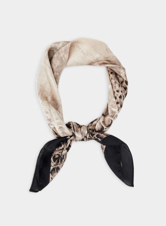 Foulard carré motif serpent, Noir, hi-res