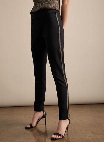 Beaded Slim Leg Pants, Black, hi-res,  fall winter 2019, beaded, slim leg, ponte de roma