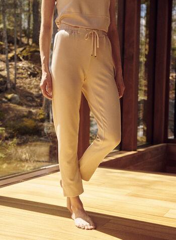 Pantalon de détente à taille élastique, Beige,  pantalon, détente, à enfiler, pull-on, jambe droite, taille élastique, oeillets dorés, cordon, poches, extensible, printemps été 2021