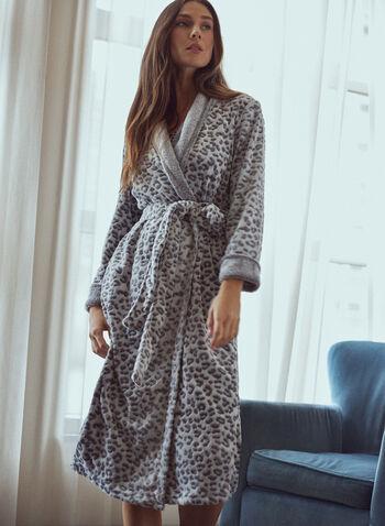 Peignoir à motif animal, Gris,  pyjama, tenue de nuit, peignoir, col châle contrastant, poignets contrastants, ceinture à nouer, motif animal, molleton, doux, automne hiver 2021, nuit, détente