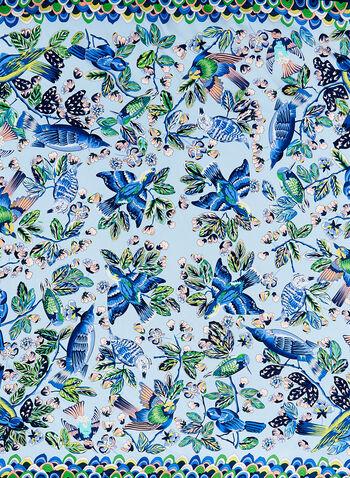 Foulard carré de soie motif oiseaux, Bleu, hi-res
