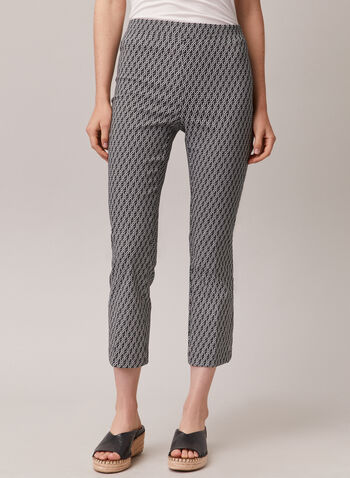 Geometric Print Pull-On Capris, Black,  capri, pull-on, bengaline, geometric, flared leg, spring summer 2020