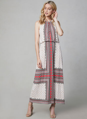 Maggy London - Robe maxi à imprimé foulard, Orange, hi-res,  cachemire, motif, motifs, jersey, printemps été 2019