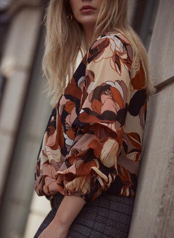 Floral Print Chiffon Blouse, Black,  fall winter 2021, blouse, top, V neck, 3/4 sleeve, balloon sleeve, puff sleeve, wrap, draped, floral print, leaf print, elastic