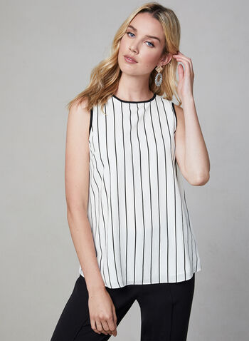 Stripe Print Sleeveless Blouse, White, hi-res,  Canada, blouse, sleeveless, crepe, stripe print, crew neck, fall 2019, winter 2019