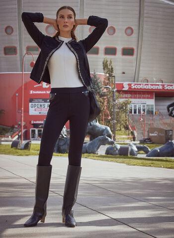 Veste en denim à bandes décoratives, Noir,  automne hiver 2020, veste, denim, jean, manches longues, encolure ronde, ouvert, poches, bandes, décorative, bouclé