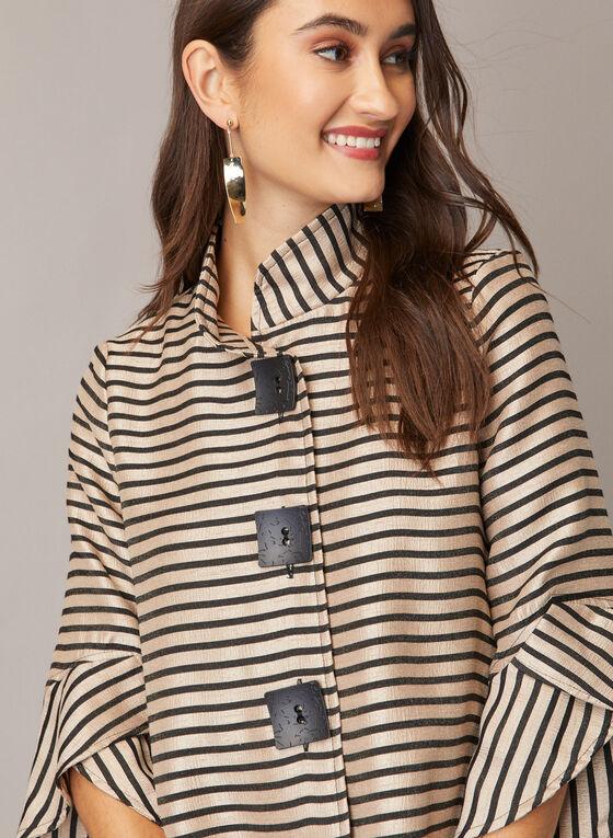 Stripe Print Tulip Sleeve Jacket, Black