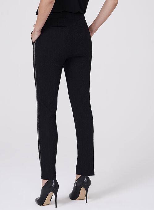 Jacquard Slim Leg Pants, Black, hi-res