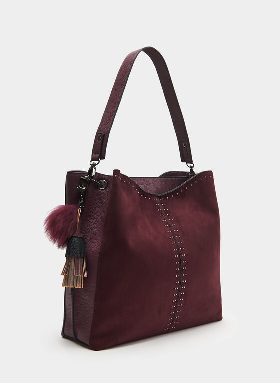 CÉLINE DION - Faux Suede Hobo Bag, Red, hi-res
