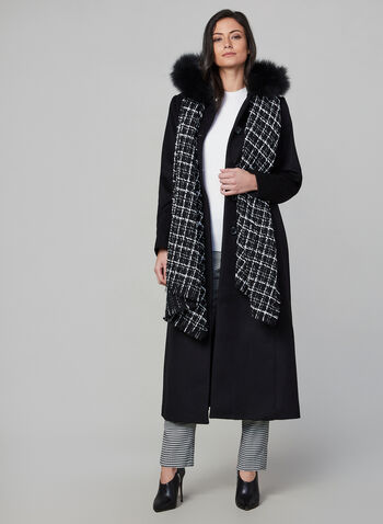 Anne Klein - Wool & Fox Fur Long Coat , Black,  coat, long, wool, fur, pockets, fall 2019, winter 2019