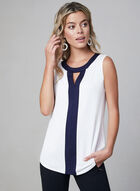 Sleeveless Contrast Trim Top, Off White, hi-res