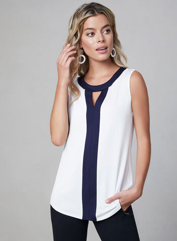 Sleeveless Contrast Trim Top, Off White, hi-res,  sleeveless, stretchy, scoop neck, cutout, fall 2019, winter 2019
