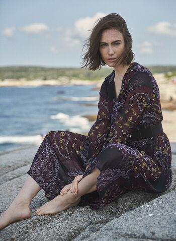 Paisley Print Long Sleeve Dress, Black,  dress, day, paisley, long sleeves, fall winter 2020