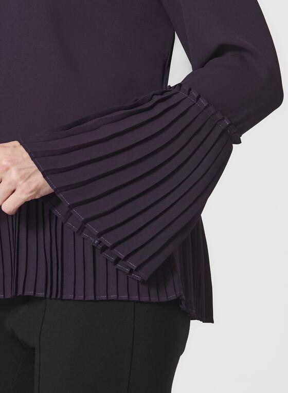 Pleated Bell Sleeve Crepe Blouse, Purple, hi-res