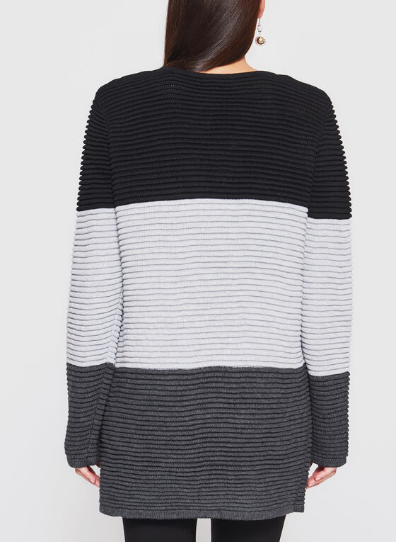 Color Block Ribbed Cardigan, Grey, hi-res