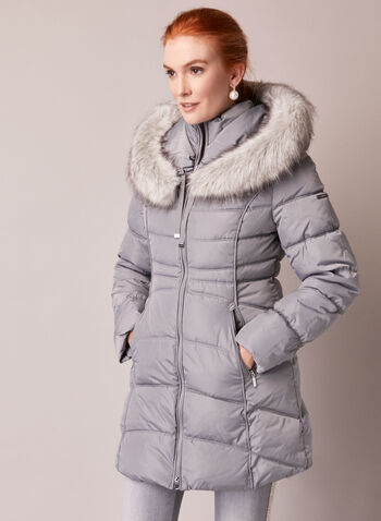 Laundry - Faux Fur Quilted Coat, Silver,  fall winter 2020, coat, down, vegan, quilted, hood, faux fur, laundry, pockets, holiday