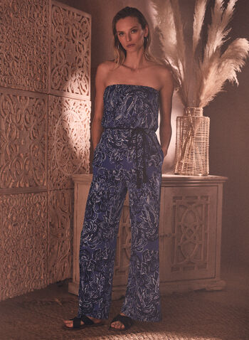 Paisley Print Strapless Jumpsuit, Blue,  jumpsuit, strapless, off the shoulder, paisley print, elastic, rope belt, wide leg, spring summer 2020