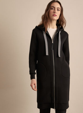 Long Hooded Jacket, Black,  jacket, long, hooded, zipper, ribbon, pockets, jersey, long sleeve, spring summer 2020