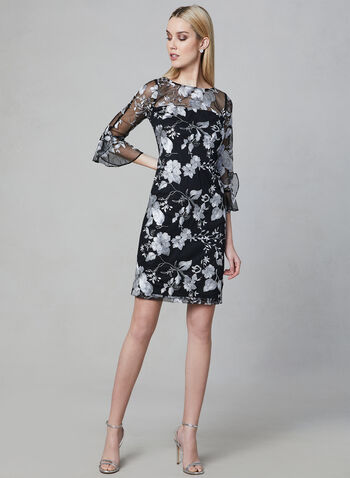 Karl Lagerfeld Paris - Embroidered Mesh Dress, Black, hi-res