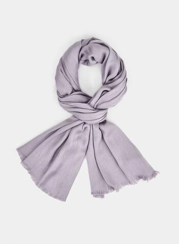 Calvin Klein - Pashmina Scarf, Grey,  scarf, pashmina, satin, wrap, Calvin Klein, fall 2019, winter 2019