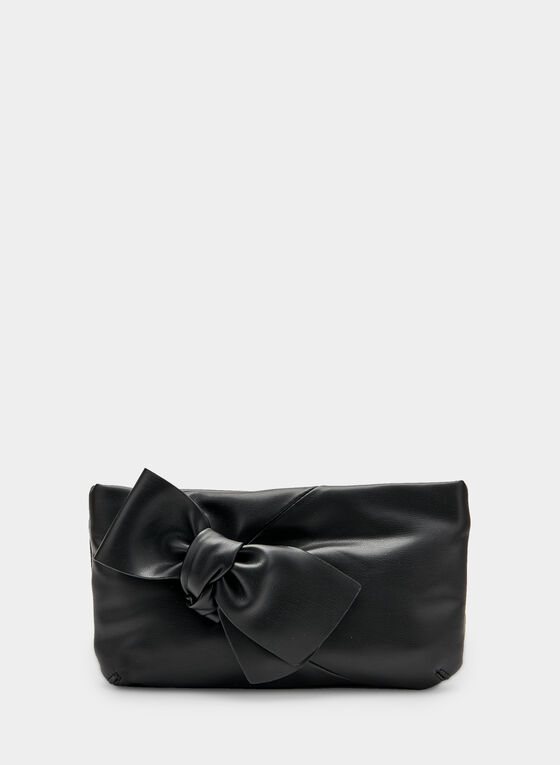 Pochette en similicuir et détail nœud, Noir, hi-res