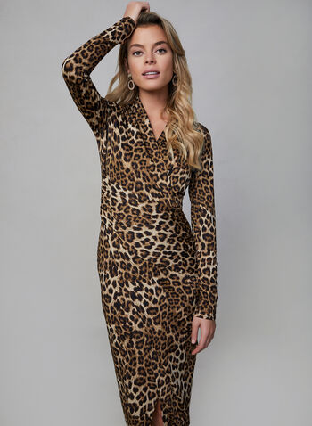Joseph Ribkoff - Leopard Print Wrap Dress, Brown,  joseph ribkoff, wrap dress, leopard print, long sleeves, pleating, fall 2019, winter 2019