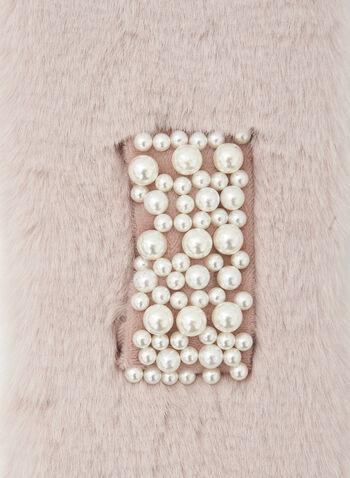 Foulard en fausse fourrure à détail perlé, Rose,  automne hiver 2020, fausse fourrure, fun fur, perles